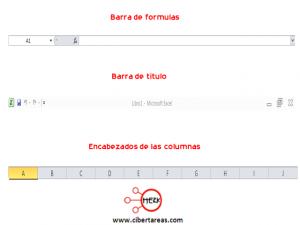 Elementos y barras principales de la pantalla de Excel 2010 1