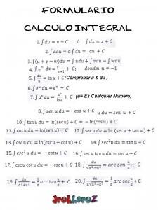 Formulario de Calculo Integral #1 0