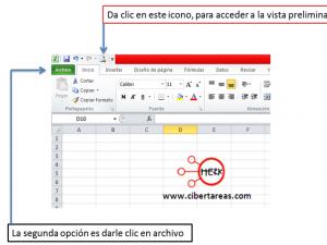 Vista preliminar, configurar página e imprimir en Excel 2010 0