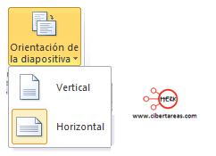 configurar pagina diapositivas powerpoint 2010 orientacion diapositiva horizontal vertical