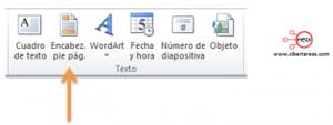 insertar pie de pagina encabezado powerpoint 2010