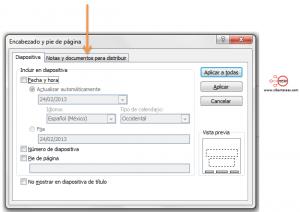 insertar pie de pagina encabezado powerpoint 2010 formato diapositivas documentos