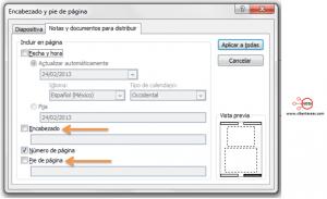 insertar pie de pagina y encabezado powerpoint 2010 formato diapositivas documentos
