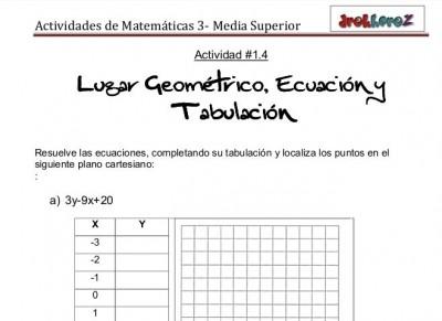 Ejecicios del lugar geometricoecacion y tabulacion - matematicas 3