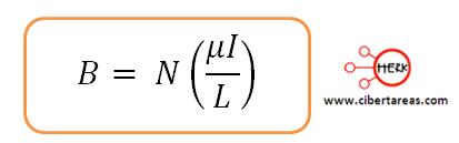 campo mangnetico producido por un solenoide formula