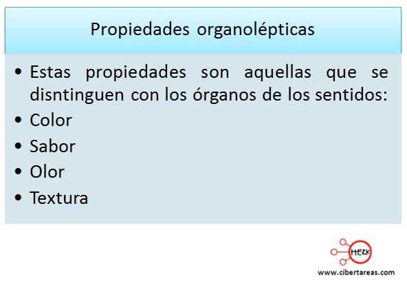 propiedades organolepticas