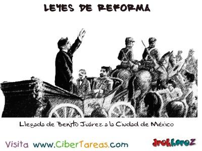 Llegada de Benito Juarez a la Ciudad de Mexico-Leyes de Reforma
