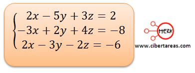 Ecuaciones simultaneas de tres por tres con solución o sin solución ejemplo