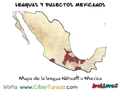 Mapa de la lengua Náhuatl o Mexica-Lenguas y Dialectos Mexicanos