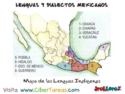 Mapa de las Lenguas Indigenas-Lenguas y Dialectos Mexicanos