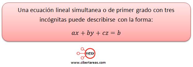 Sistemas de ecuaciones simultaneas de tres ecuaciones con tres incógnitas