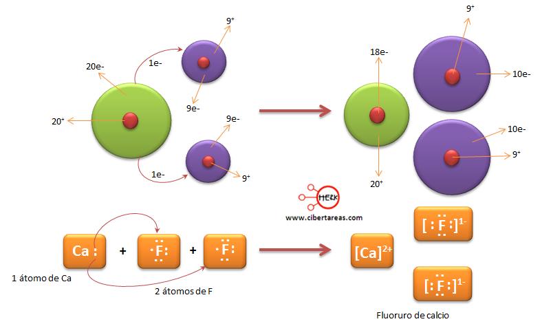 trasnferencia de electrones del calcio al fluor