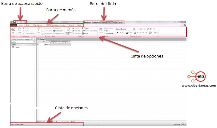 elementos de la pantalla principal access 2010