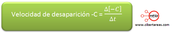 velocidad de desaparicion reaccion quimica formula