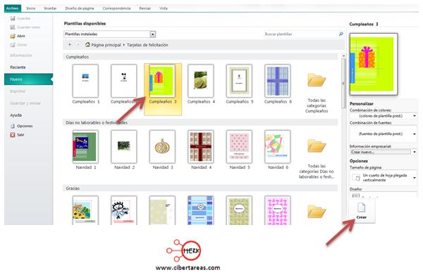 publisher 2010 tarjeta de felicitacion ejemplo manual
