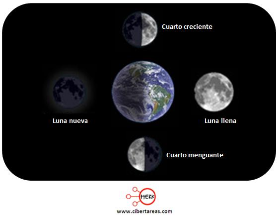 Fases lunares – Geografía | CiberTareas