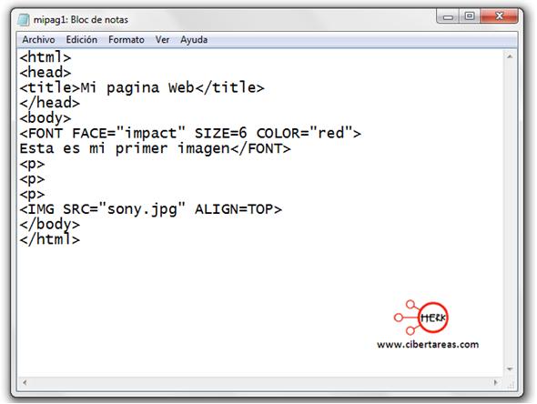 codigo para insertar una imagen manual de html