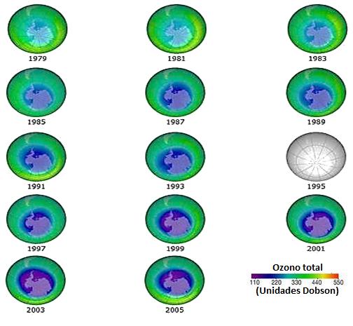 desarrollo del agujero de la capa de ozono