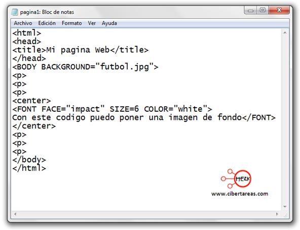 manual de html codigo para insertar una imagen de fondo