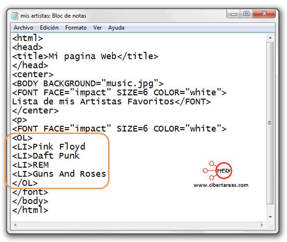 codigo para insertar listas en html