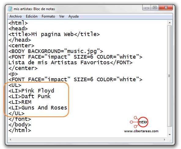 manual de html codigo para insertar una lista en html