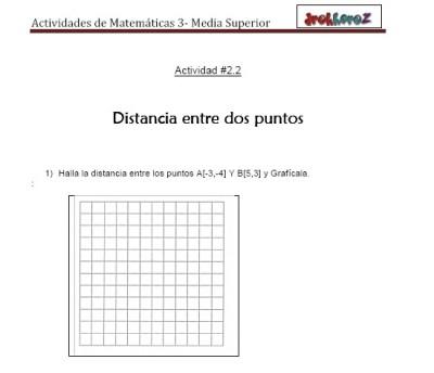 Distancia entre dos puntos-Actividad 2.2.1-Matematicas 3
