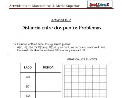 Distancia entre dos puntos Problemas-Actividad 2.2.2-Matematicas 3