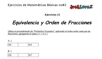 Ejercicios de Equivalencia y Orden de Fracciones - 11.1
