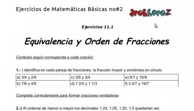 Ejercicios de Equivalencia y Orden de Fracciones - 11.2