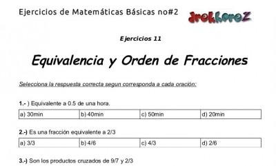 Ejercicios de Equivalencia y Orden de Fracciones - 11.3