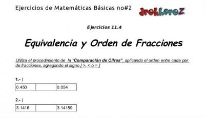 Ejercicios de Equivalencia y Orden de Fracciones - 11.4