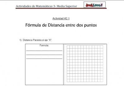 Formula de distancia entre dos puntos-Actividad 2.1.2-Matematicas 3