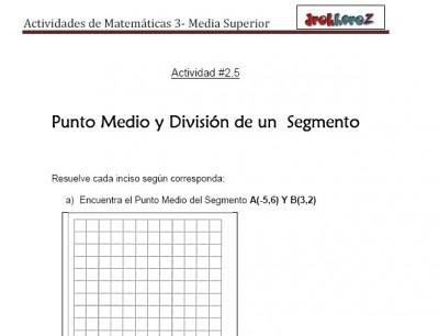 Punto Medio y Division de un Segmento-Actividad 2.5-Matematicas 3