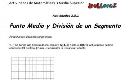 Punto Medio y Division de un Segmento-Actividad 2.5.1-Matematicas 3