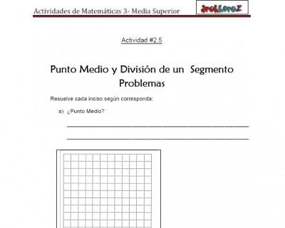 Punto Medio y Division de un Segmento Problemas-Actividad 2.4-Matematicas 3