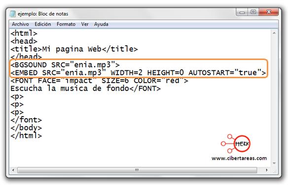 codigo para insertar musica de fondo html
