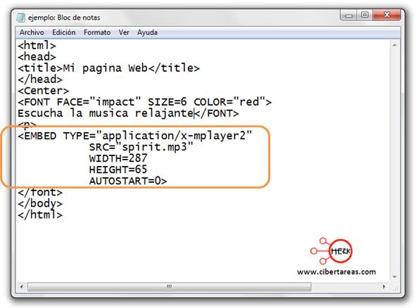 codigo para insertar musica en html manual de html