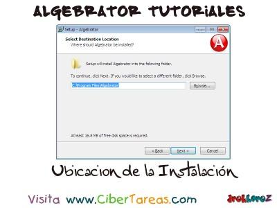 Ubicacion de la Instalacion - Algebrator Tutoriales