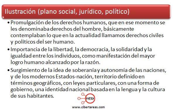caracterristicas de la ilustracion en el plano social, juridico y politico