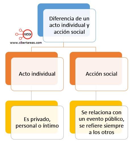 diferencia de un acto individual y accion social weber