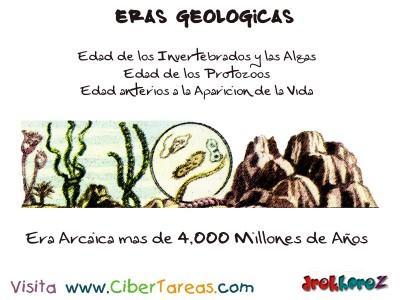 Era Arcaica edad de los invertebrados algas, protoozos, aparicion de la vida - Eras Geologicas