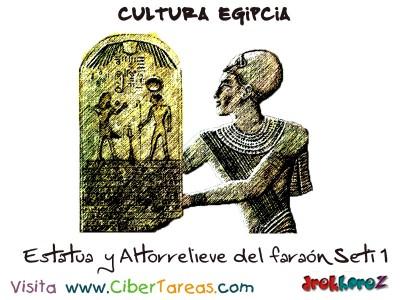 Estatua  y Altorrelieve del faraon Seti 1 - Cultura Egipcia