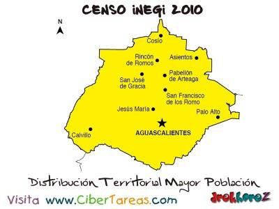 Distribucion Territorial Mayor Poblacion de Aguascalientes - Censo INEGI 2010