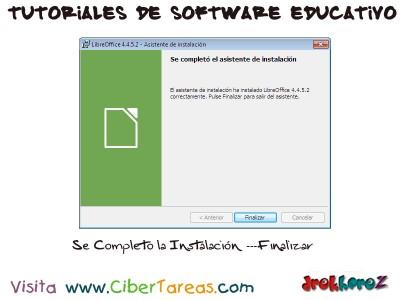 Se Completo la Instalacion de LibreOffice - Tutoriales de Software Educativo