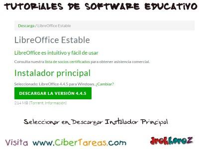 Seleccionar Instalador Principal de Libre Office Estable win - Tutoriales de Software Educativo