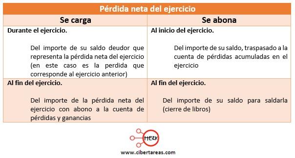 cuentas de capital perida neta del ejercicio contabilidad 1