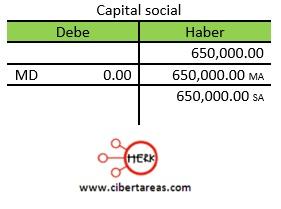 denominacion, movimiento y saldo de las cuentas de capital