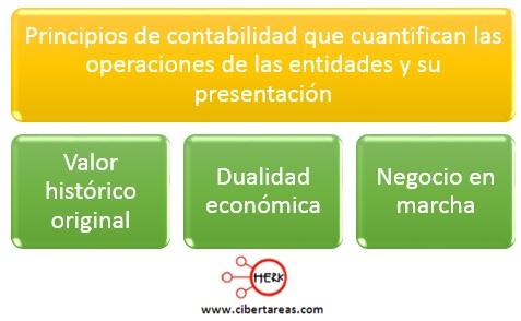 principios de contabilidad que cuantifican las operaciones de las entidades y su presentacion