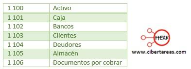 listado del activo catalogo de cuentas contabilidad