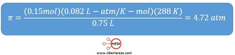 calculo de la presion osmotica ejemplo